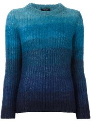 Roberto Collina Tonal Stripes Jumper Blue