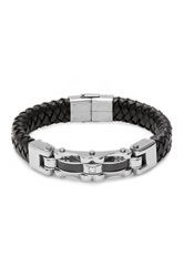 Steeltime Stainless Steel Bicycle Chain Accent Bracelet Metallic