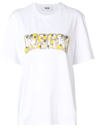 Msgm Embroidered T Shirt Women Cotton M White