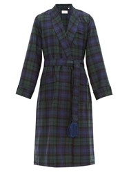 Derek Rose Black Watch Tartan Wool Dressing Gown Green