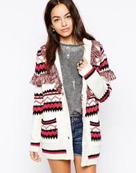 Glamorous Blanket Knitted Cardigan With Tassel Trim Multi
