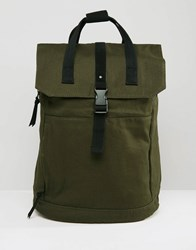 Asos Backpack In Green With Internal Laptop Pouch And Black Trims Green