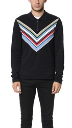 Fred Perry By Raf Simons Chevron Zip Front Pique Shirt Soho Black