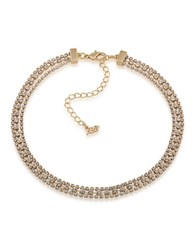 Abs By Allen Schwartz Three Row Goldtone And Crystal Necklace Gold White