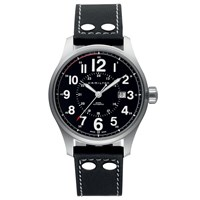 Hamilton H70615733 Men's Khaki Field Officer Automatic Date Leather Strap Watch Black