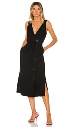 1.State 1. State Button Front Faux Wrap Midi Dress In Black. Rich Black
