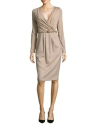 Max Mara Narsete Wool Wrap Dress Beige