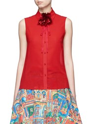 Alice Olivia 'Teri' Floral Ribbon Necktie Sleeveless Crepe Shirt Red