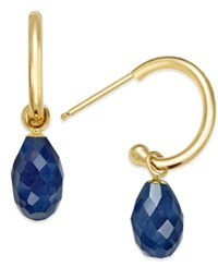 Macy's Sapphire Briolette Hoop Earrings 4 1 10 Ct. T.W. In 14K Gold Yellow Gold