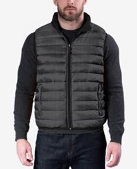 Hawke And Co. Outfitter Outfitters Men's Reversible Packable Vest Grey Herringbone Black