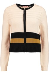 See By Chloe Color Block Cotton Cardigan Cream