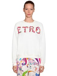Etro Logo Printed Cotton Sweatshirt White