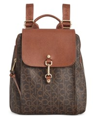 Calvin Klein Hudson Monogram Backpack Brown Khaki Luggage Saff
