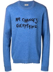 Zadig And Voltaire Embroidered Cashmere Jumper Blue