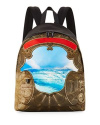 Givenchy Baroque Wave Print Canvas Backpack Multicolor Multi Colors