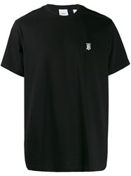 Burberry Logo Embroidered T Shirt Black