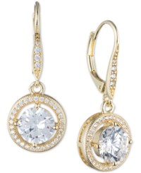 Anne Klein Round Crystal And Pave Drop Earrings Yellow Gold