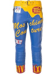 Moschino Leather Effect Cropped Biker Trousers Blue
