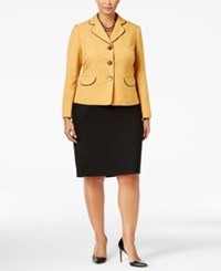 Le Suit Plus Size Colorblocked Three Button Skirt Yellow Black