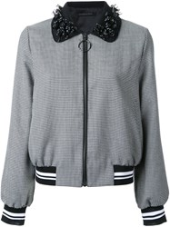 Mother Of Pearl Houndstooth Pattern Bomber Jacket Black