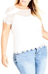 City Chic Plus Size Ruffle Stripe Lace Top Ivory
