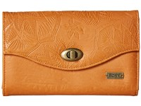 Roxy Pink Motel Wallet Camel Checkbook Wallet Tan