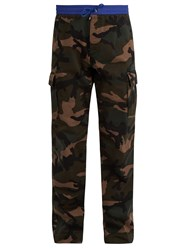 Valentino Camouflage Print Cotton Cargo Trousers