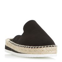 Dune Geniee Backless Espadrille Shoes Black Suede