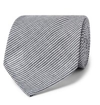 Rubinacci Striped Linen Tie Navy