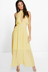 Boohoo Chiffon Frill Detail Open Back Maxi Dress Lemon