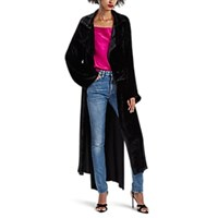 Juan Carlos Obando Velvet High Low Trench Coat Black