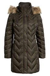 Marc New York Matte Satin Chevron Faux Fur Trim Coat Olive
