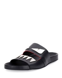 Fendi Monster Metal Teeth Double Strap Slide Black