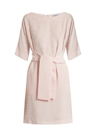 Osman Hemera Round Neck Jacquard Dress Pink
