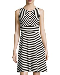 Chetta B Striped Keyhole Crepe Dress Black White