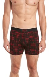 Saxx Vibe Boxer Briefs Red Patched Plaid