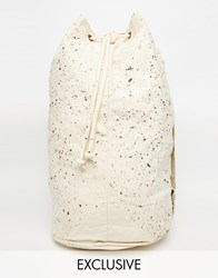 Reclaimed Vintage Barrel Bag With Paint Effect Cream