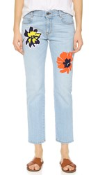 Stella Mccartney Tomboy Flower Embroidered Jeans Sun Faded Blue