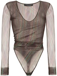 Y Project Ruched Mesh Bodysuit Brown