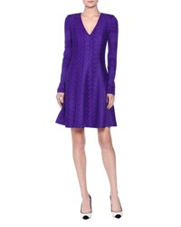 Missoni Long Sleeve V Neck Zigzag Knit Dress Purple