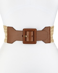 Lafayette 148 New York Woven Leather Trim Belt Cognac