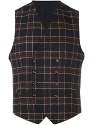 Tagliatore Checked Double Breasted Waistcoat Blue