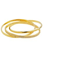 Sterling Forever Cz Triple Roll Stackable Bangle
