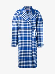 Jacquemus Oversized Cotton Wool Blend Check Coat Blue White