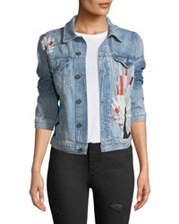 Etienne Marcel Embroidered Denim Jacket Blue