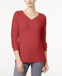 Charter Club Petite Grommet Sweater Created For Macy's Poppy Glow