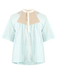 Ace And Jig Bronte Striped Woven Cotton Top Blue Multi