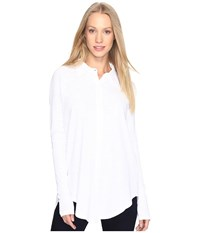 Mod O Doc Textured Slub Stripe Back Crossover Button Front Shirt White Women's Clothing
