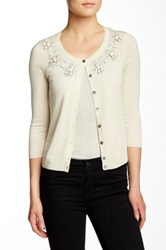 In Cashmere Jeweled Neck Silk Blend Cardigan White