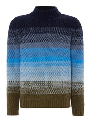 Perry Ellis Men's America Knitted Crew Neck Wool Blend Jumper Blue